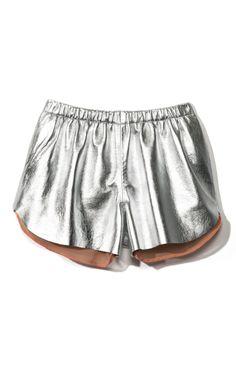 Clover Canyon Metallic Silver Leather Short