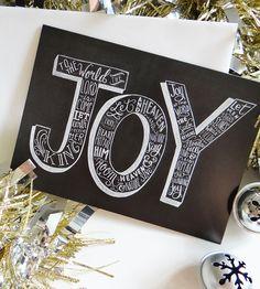 Joy Holiday Chalkboard Cards