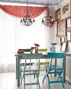 How i want my dining room, A small table with different color chairs shabby chic. . so cute
