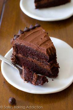 Triple Chocolate Layer Cake by sallysbakingaddiction.com