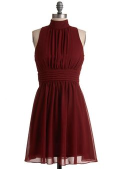 Cute Burgundy Red Dress - fun for a night out or a fancy date night! From Modcloth
