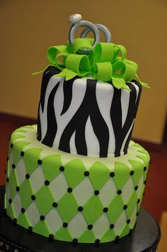 Green & Zebra Engagement Party Cake w/ Gum Paste Rings
