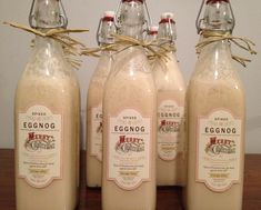 Homemade eggnog spiked with vanilla vodka and baileys Irish cream