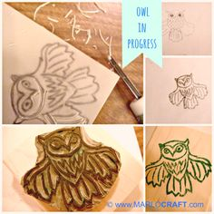 Owl stamp carved by Marlo DeVouge