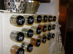 "Magnetic baby food jar spice ""rack."""