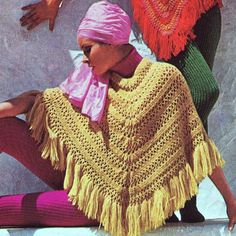 Crochet and Knitted Poncho Retro Vintage