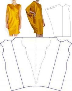 Lanvin Yellow Draped Sleeve Dress pattern.