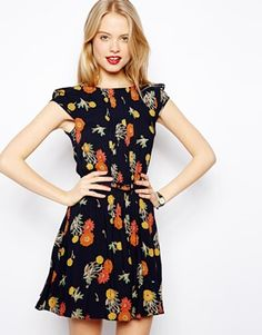 Image 1 of ASOS Skater Dress With Pintucks In Floral Print $30.11