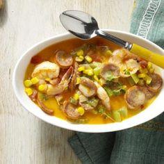 Andouille-Shrimp Cream Soup Recipe from Taste of Home