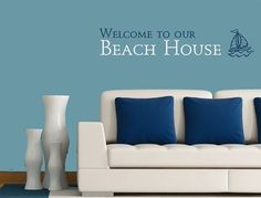Welcome to our Beach House Vinyl wall decal by MommyofTyDesigns, $38.00