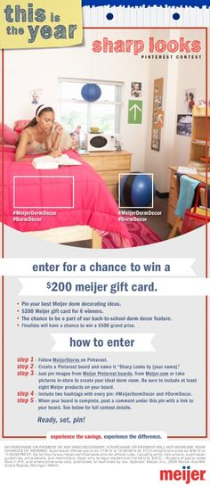 Enter for a chance to win aMeijer gift card!    #MeijerDormDecor #DormDecor