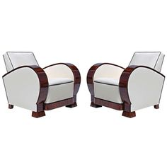 Pair of Art Deco Walnut Armchairs | 1stdibs.com