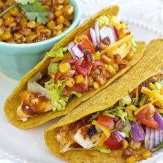 These Barbecue Chicken Tacos look amazing! #recipes #dinner #chicken