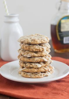 Maple-Glazed Oatmeal Chocolate Chip Cookies by tracysculinaryadventures #Cookies Oatmeal #Chocolate_Chip #Maple