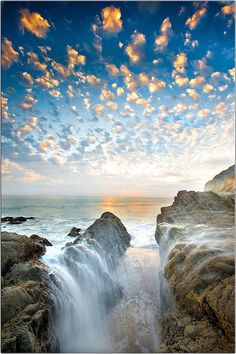 sunset waterfall, california