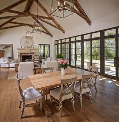 interior, glass doors, custom homes, exposed beams, floor
