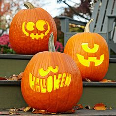 Light up your porch this Halloween with a Trio of Traditional Jack-o'-Lanterns! More Halloween decorations: http://www.bhg.com/halloween/indoor-decorating/halloween-door-decor-28-great-ideas/?socsrc=bhgpin091913trio#page=12