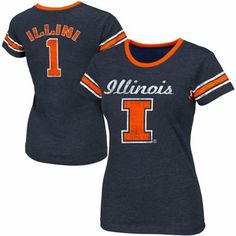 Illinois Fighting Illini Womens Galaxy II Slim Fit T-Shirt – Navy Blue (large)