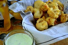 Beer Battered Mushrooms with Herbed Ranch. I had something similar to this when I was in Austin- delish! (from View from Great Island)