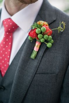 boutonniere with berries, photo by Altmix Photography, styling by Juli Vaughn Designs http://ruffledblog.com/modern-atlanta-wedding #weddingideas #grooms #boutonnieres