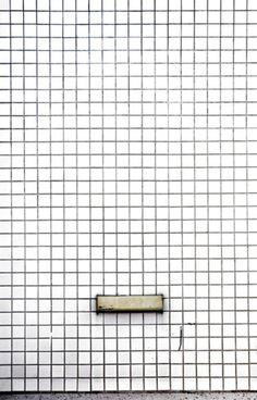 white tile, black grout