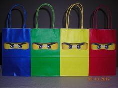 10 Lego Ninjago Party Goody Goodie Bags Treats Favor Tags Building Blocks Personalized Birthday Boys Red Yellow Blue Green. $19.95, via Etsy.