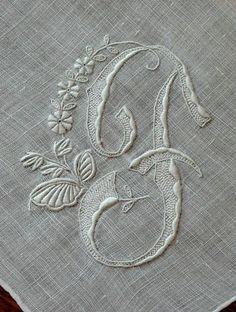 Embroidered monogram F