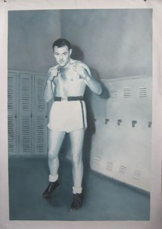 """This is a black & white oil on canvas painting of a gentleman's grandfather. Mr. Wallace """"Wally"""" Mcleod. Canadian Heavyweight Golden Gloves Boxing Champion 1943."""