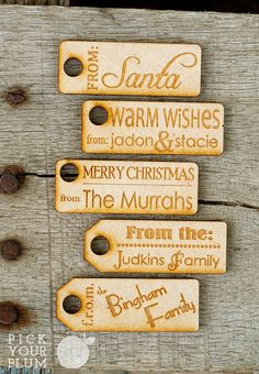 Tis' The Season...To Give Gifts - Personalized Gift Tags 6 Pack #woodentags pickyourplum.com