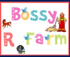 UPDATED Bossy R Farm Lesson and Project to help teach r-contolled vowels, Notebook File for the Smart Board, student printable pages, animation on ...