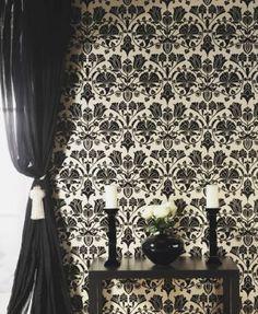 black flock, sheer curtain black white, flock wallpap