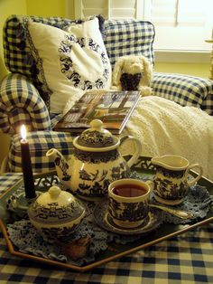 tea set, decor, gingham, tea time, winter blue, teas, white, blues, blue willow