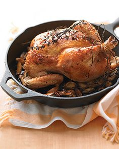 roasted organic chicken with herbs and garlic