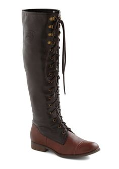 choclate lace up knee high boots