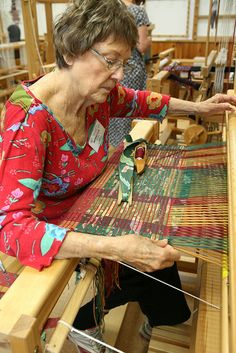 """Weaving a Rag Rug From Nanette Davidson's class """"Block-weave Rag Rugs"""" May 8-14, 2011"""