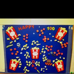My sons 100th day project for school. He wanted a movie theme with popcorn and Starbursts. We put them in groups of 5. :)