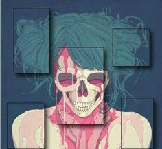 Skull, death, life, teal hair, skeleton, female, blood