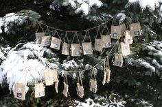"""Advent Calendar: 24 Burlap Bags Numbered on a 103"""" Cord $69"""