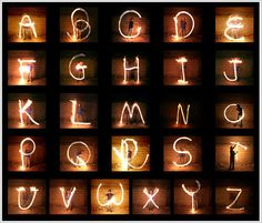 alphabet light writing