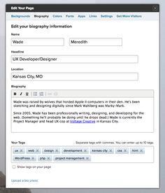About.me page editor.