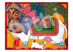 Kamdhenu the wish granting cow Goddess PRINT by Deezden on Etsy, $40.00
