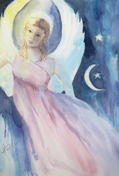 Angel with Moon and Stars by Mary DuCharme