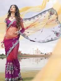 Women always prefer to wear saris in different styles. parti wear, blouses, fashion, magenta, purple, wear sare, party wear, salmon, net sare