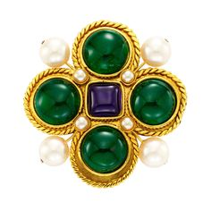 Chanel Costume Byzantine-style Gripoix Large Brooch | From a unique collection of vintage brooches at http://www.1stdibs.com/jewelry/brooches/brooches/