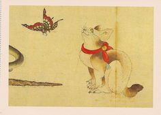 Cat and Butterfly      Painting on paper   Hokusai (Courtesy of the Smithsonian)