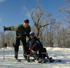 My wife Pam learning how to sit-ski on Belleayre Mountain.