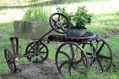 """Steampunk garden art """"car"""""""