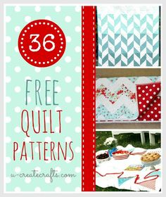 36 Free Quilt Patterns----A valuable resource here.  Lots of links to lots of talent. sew, 36 free, craft, 36 beauti, quilt patterns, free quilt, quilts, beauti free, diy