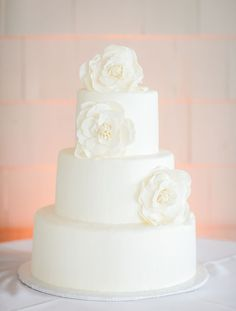 Simple and Elegant Wedding #Cake | See the wedding on Style Me Pretty: http://www.stylemepretty.com/2013/09/24/north-carolina-wedding-from-beach-productions/ Beach Productions
