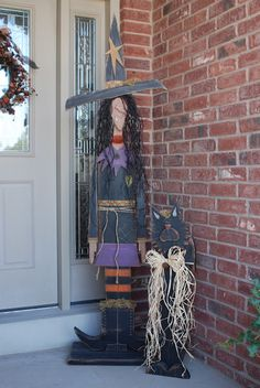 Tall Standing Witch and Cat by Wasatch Wood Crafts